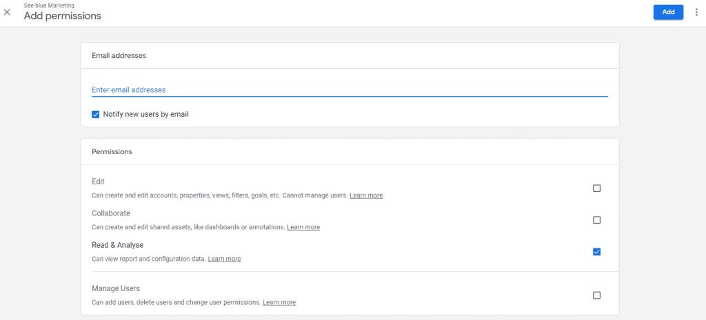 Google Analytics Granting Access Screen